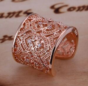 *UK* New Rose Gold Plated Heart With Zirconia Adjustable Ring Thumb