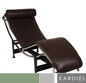 Le corbusier lc4 chaise lounge choco brown premium leather modern