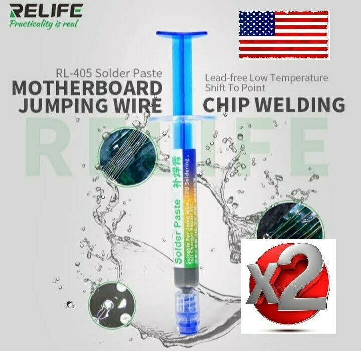 TWOpcs Relife Solder Paste, RL-405, 138c low temp, lead free