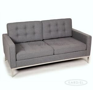 FLORENCE-KNOLL-LOVESEAT-SOFA-CHAIR-CASHMERE-WOOL-mid-century-modern-vintage
