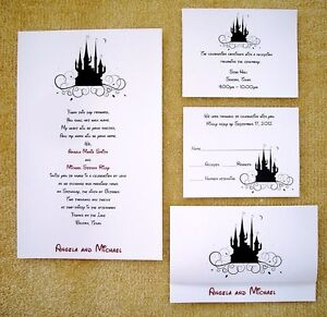 100 Personalized Custom Cinderella Castle Disney Wedding Invitations Set