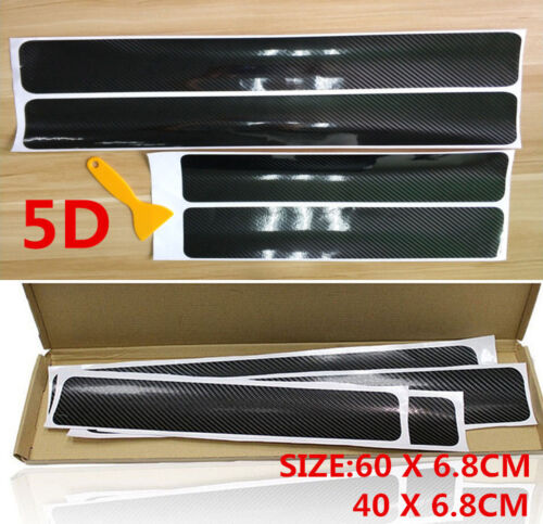 Car Parts - 4x Accessories Carbon Fiber Car Scuff Plate Door Sill 5D Sticker Protector