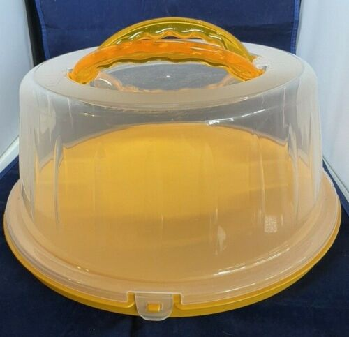 Plastic Cake Carrier With Handles Butterscotch Color