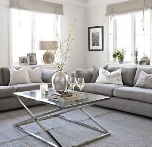 Brand New Modern Stainless Steel Silver or Golden Coffee Table