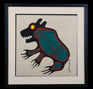 Original-Painting-NORVAL-MORRISSEAU-EARLY-WORK-Canadian-Artist-Aboriginal-Art