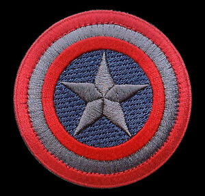 CAPTAIN AMERICA MARVEL COMICS SHIELD LOGO MOVIE 2.5 INCH VELCRO PATCH