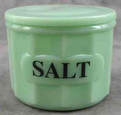 JADEITE GREEN GLASS SALT BOX JAR LIDDED CANISTER ~ COLUMN DESIGN ~ ()