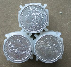 THREE-ROLLS-60-COINS-PRE-1921-MIXED-DATE-MORGAN-SILVER-DOLLARS-AU-BETTER