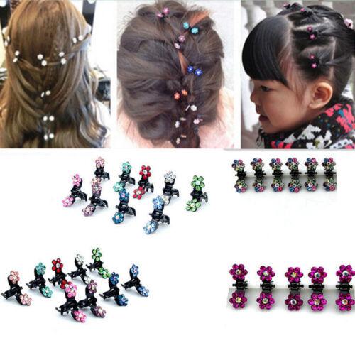 12 PCS Girls Sweet Rhinestone Crystal Flower Mini Hair Claw Clip Clamps Children