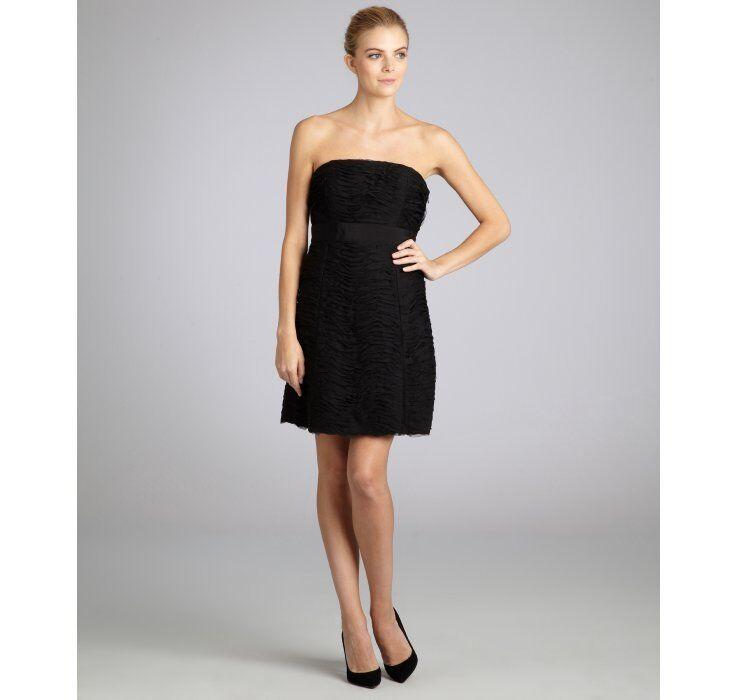 $395 CYNTHIA STEFFE 'Paige' Black Mesh Ruched Strapless Mini Dress sz 0 NWT