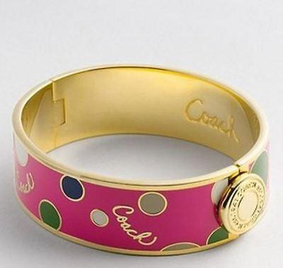 NWOT COACH Pink 3/4 Inch Polka Dot Multi/Gold Hinged Bangle 95182 - gift receipt 3 Polka Dot Bracelets