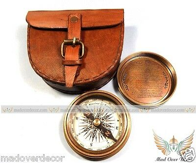 "2.3"" ANTIQUE VINTAGE STYLE BRASS POCKET COMPASS W LEATHER CASE CAMPING HIKING"