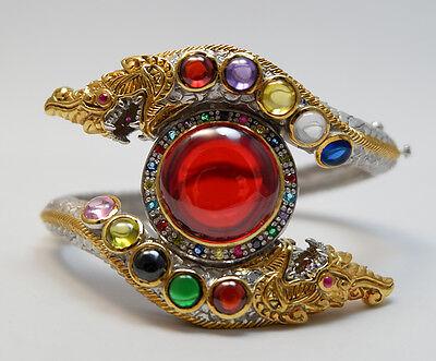 SUPER RARE 100% Real Nok Phra Gow 9 color Naga Eye Silver Bracelet Thai Amulet