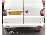 VW T5 Transporter Stainless Steel Custom Exhaust System Twin Tail Pipes