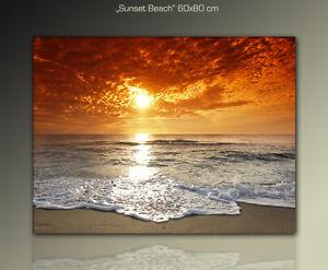 DESIGNBILDER-WANDBILD-Sunset-Beach-auf-Leinwand-gerahmt-Kunst-60x80cm