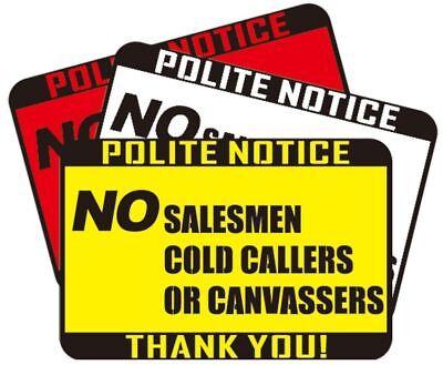 NO SALESMAN COLD CALLERS CANVASSERS LABEL DOOR WINDOW STICKER SIGN SALESMEN