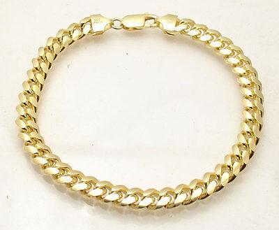 "8.25"" Italian Solid Miami Cuban Bracelet 14K Yellow Gold Clad Sterling Silver"