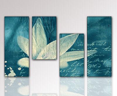 Moderne Blüte (DESIGNBILDER- WANDBILD Blüte blau abstrakt modern Wohnzimmer Kunst  - 130x70cm)