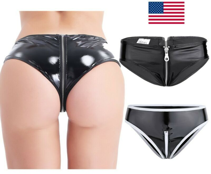 Female Ruffled Leather Underpants Lined Zipper Crotch High Waist Suspender Panty