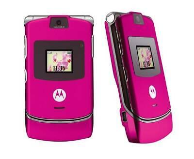 Motorola RAZR V3 IN SHOCKING PINK   unlocked all gsm . compact flip phone