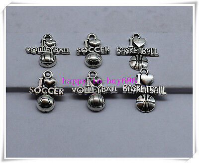 20/60pcs  Antique Silver delicate I love basketball volleyball Charm pendant - I Love Volleyball