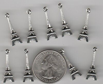 Yuo Get 30  Silver Tone Metal 3D Paris Eiffel Tower Charms   U S   Seller   W 6