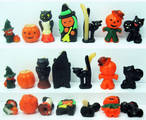 7 DIFFERENT VINTAGE HALLOWEEN CANDLES, 1 OWL, 2 WITCHES, 2 PUMPKINS, 2 CATS OLD