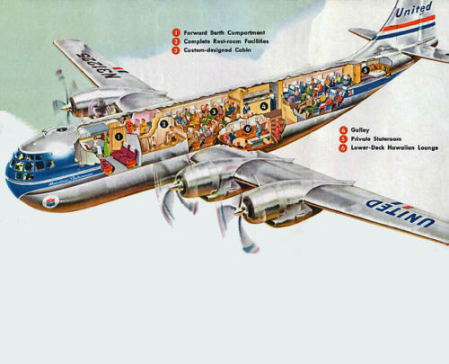 "United Airlines Boeing 377 Stratocruiser ((8.5""x11"")) Print"