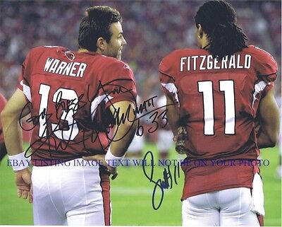 KURT WARNER & LARRY FITZGERALD SIGNED AUTOGRAPH 8x10 RP PHOTO ARIZONA CARDINALS