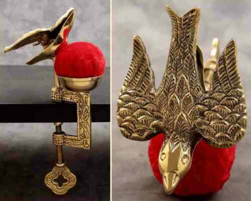 SOLID BRASS SEWING BIRD HEMMING CLAMP WITH VELVET PIN CUSHION ~Victorian Design~