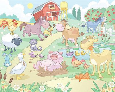 Fototapete Bauernhof Baby Kinderzimmer Wandbild Babyzimmer Kuh Schwein Hahn NEU