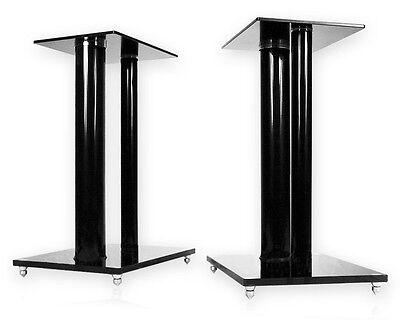 Lautsprecher-ständer (2 Boxenständer V2-Black Glas ALU Lautsprecher Ständer Stativ Säule Podest Sockel)