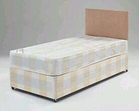 Single Bed 24cm Mattress BLACK CREAM Factory Direct Headboard/Drawer Options Fast Delivery