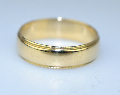 ARTCARVED 14K YELLOW GOLD MENS WEDDING BAND RING MILGRAIN EDGES SIZE 8.75 ()