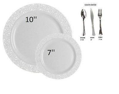 Bulk wedding party dinner disposable plastic plates silverware white lace  - Plastic Silverware Bulk