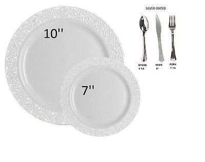 Bulk wedding party dinner disposable plastic plates silverware white lace - Bulk Disposable Plates