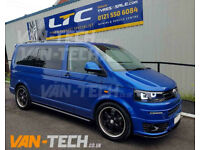VW T5 T5.1 T6 SWB LWB Transporter Black Slashed End Side Bars