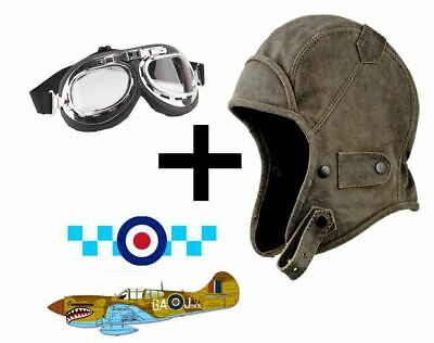 LEATHER LOOK  WW2 FLYING HELMET BOMBER PILOT AVIATOR HAT  (Ww2 Pilot Kostüm)