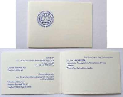 NVA Volksmarine Ausweis Karte Botschaft d. DDR Moskau in UdSSR Leningrad General