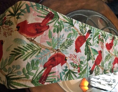 "Cardinal Table Runner Tapestry Design Lined Back 13""x 72"" Colorful Multi"