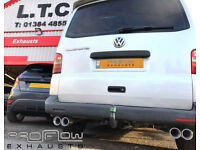 VW T5 Transporter fitted with a custom built Proflow Stainless Steel Middle/Rear with Twin Tailpipes