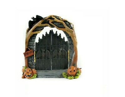 Fairy Garden Halloween Gate with Arch, Fall Gate with Pumpkins and Bats