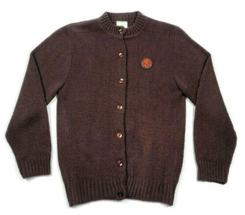 Girl Scouts Vtg Brownie Youth Sz 11 Brown Knit Button Sweater Uniform Patch