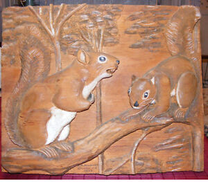 Pine Squirrel relief carving Nova Scotia Folk art 1973 signed