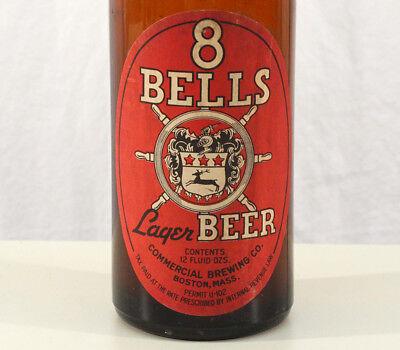 8 BELLS LAGER BEER 1930's BEER BOTTLE COMMERCIAL BREWING BOSTON MASSACHUSETTS MA