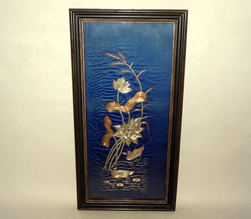 Antique QING  Chinese Framed Gold Embroidery Textile GOLD Metallic Thread Lotus