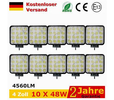 10X 48W LED Arbeitsscheinwerfer Offroad Scheinwerfer Traktor Bagger SUV 12V 24V