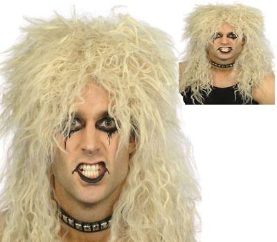 Blond Rock Star Perücke Herren 80er Lockig Punk Biker Promi Rocker Kostüm