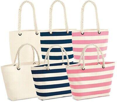 Shopper oder Strandtasche Beach gestreift Baumwolle navy pink natur WM68085