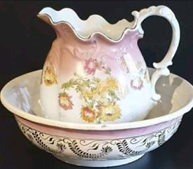 Antique Large wash bowl and jug.